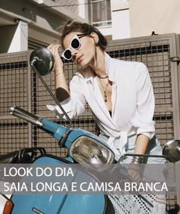 LOOK DO DIA SAIA LONGA E CAMISA BRANCA