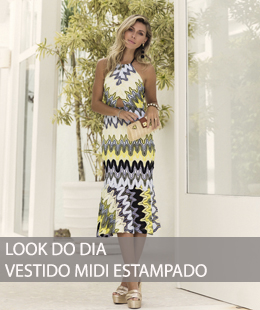 LOOK DO DIA VESTIDO MIDI ESTAMPADO