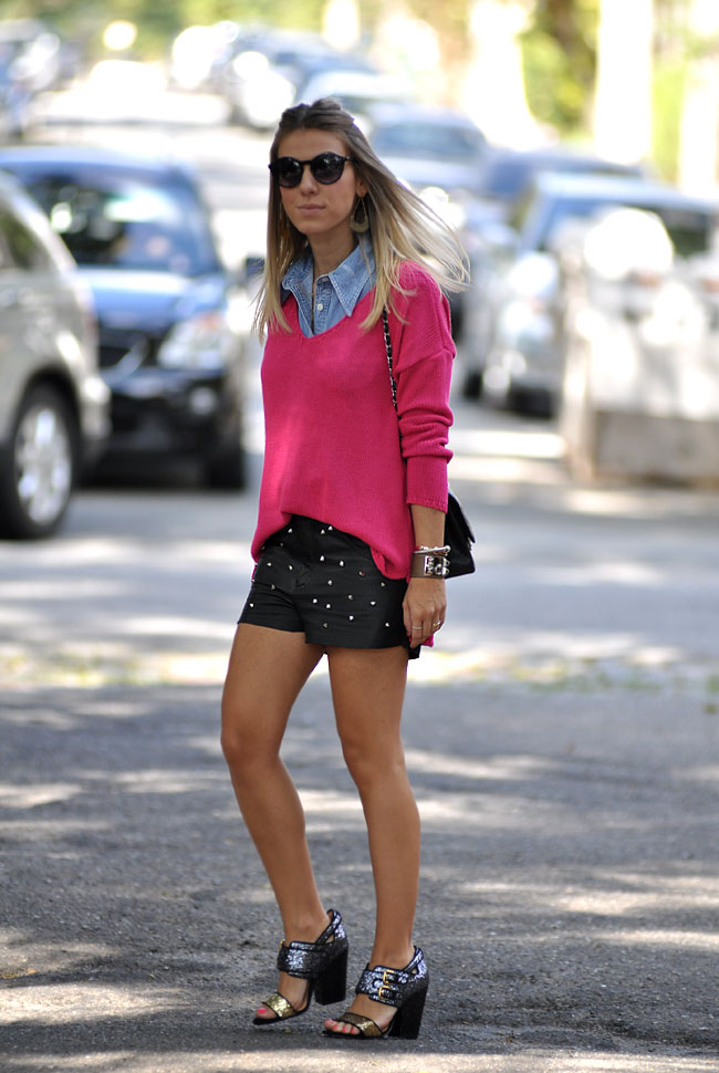 glam4you - nati vozza - street style - couro - spikes - tricot - pink - jeans - look do dia - look - glitter shoes