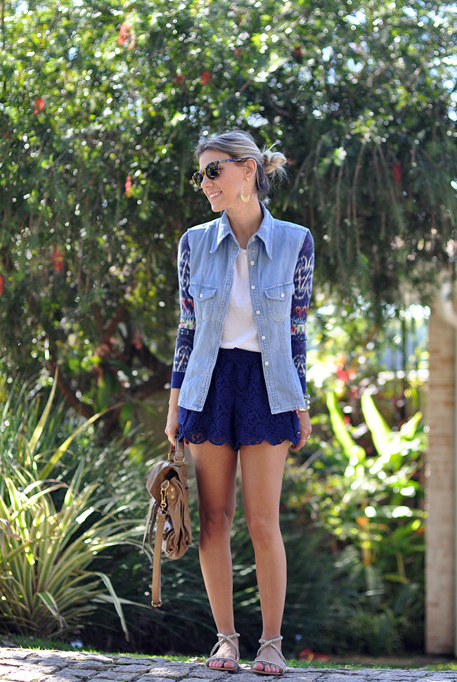 glam4you - nati vozza - look - look do dia - short renda - flats - looks com flats - ps1 - ikat - estampa - look boho -