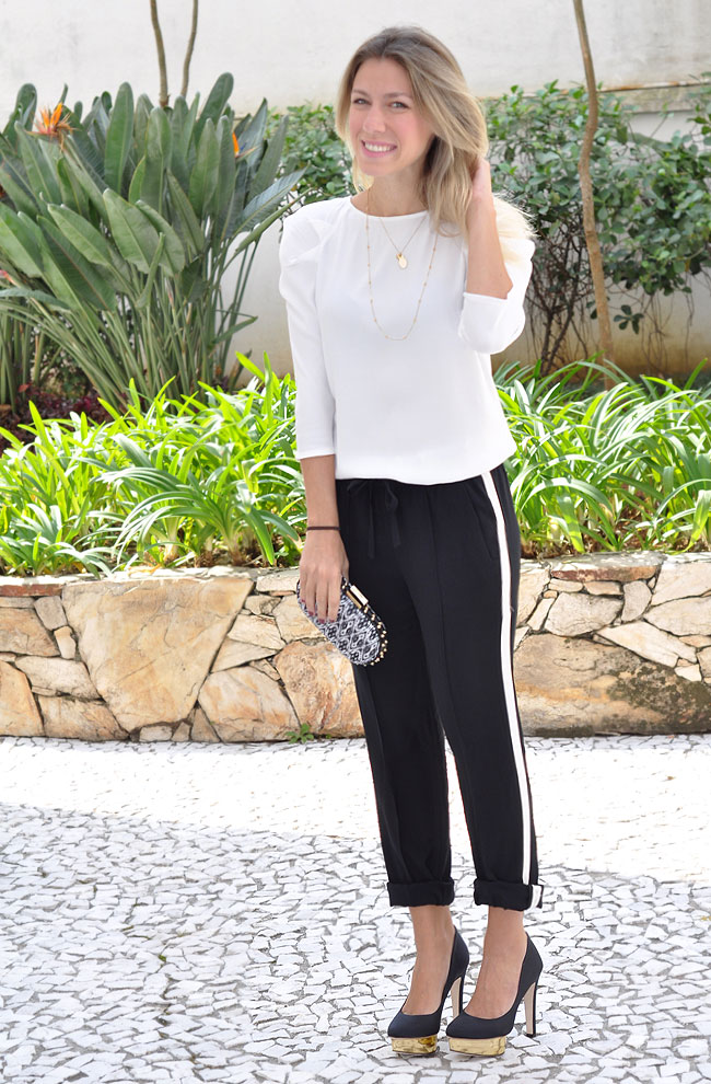 glam4you - nati vozza - look - preto e branco - calca - carrot - miezko -