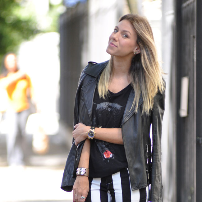 glam4you - nati vozza - vozza - blog - look - stripe - jeand - leather - animal t-shirt