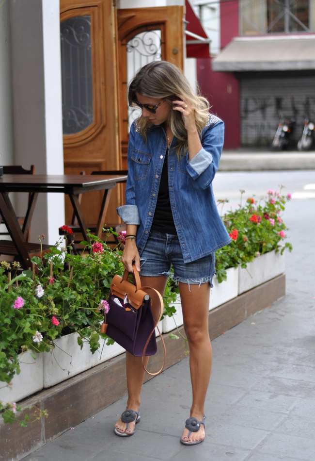 glam4you - nati vozza - blog - look - jeans  - jeans com jeans - camisa - short - hermes - chanel