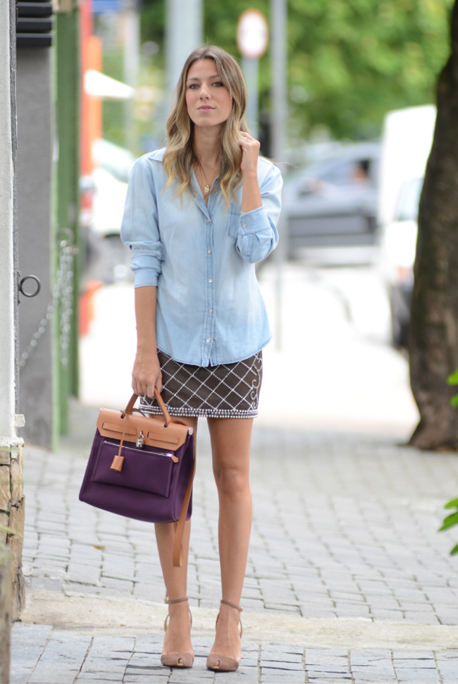 glam4you - nati vozza - look  - saia - bordado - jeans - hermes - herbag - nude - look do dia