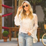 LOOK DO DIA BLUSA DE RENDA E JEANS