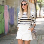 LOOK DO DIA SHORT SAIA E MALHA LISTRADA