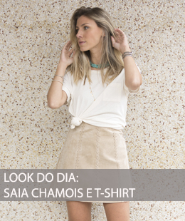 LOOK DO DIA SAIA CHAMOIS E T SHIRT