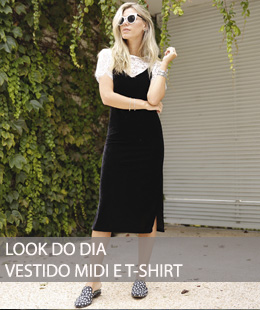 LOOK DO DIA VESTIDO MIDI E T-SHIRT DE RENDA