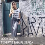 LOOK DO DIA T-SHIRT E SAIA PLISSADA