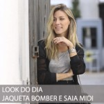 LOOK DO DIA JAQUETA BOMBER E MIDI