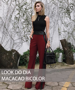 LOOK DO DIA MACACÃO BICOLOR