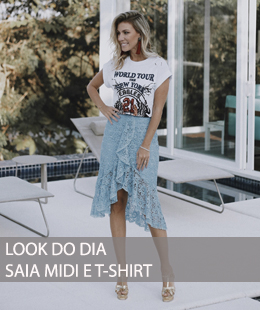 LOOK DO DIA SAIA MIDI E T-SHIRT