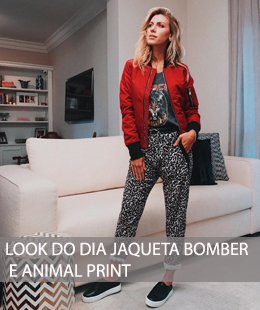 LOOK DO DIA BOMBER E ANIMAL PRINT