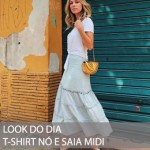 LOOK DO DIA T-SHIRT E SAIA MIDI