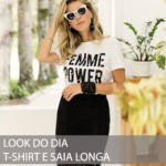 LOOK DO DIA T-SHIRT E SAIA LONGA