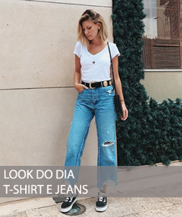 LOOK DO DIA COM T-SHIRT E JEANS